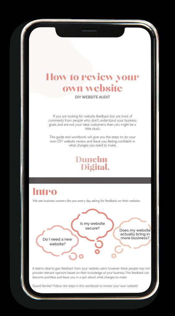 DIY website Audit Workbook on mobile